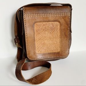 Leather Hand Tooled Crossbody Bag Vintage Boho